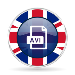 avi file british design icon - round silver metallic border button with Great Britain flag.