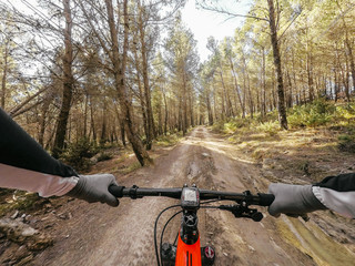 POV mountainbiking action: enduro riding on the Alps