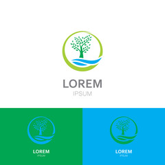 green tree abstract ecology vector logo