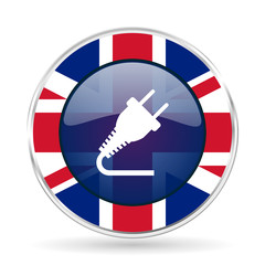 plug british design icon - round silver metallic border button with Great Britain flag
