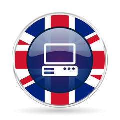 computer british design icon - round silver metallic border button with Great Britain flag