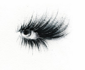 Fototapete - Eye Makeup. Fashion illustration. Watercolor painting