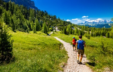 Pair of excursionist walking on mountainous trail. Summer Trekking Wall mural