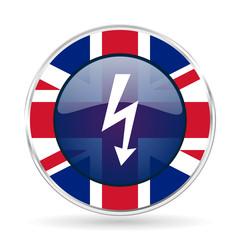 bolt british design icon - round silver metallic border button with Great Britain flag