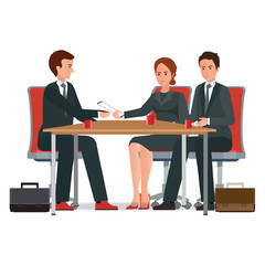 Successful business negotiations over a round negotiations table