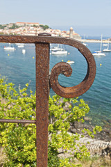 Rusty Railing detail Collioure Town Background.