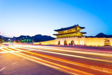 Gyeongbokgung Entrance Dusk Headlights Streaking H