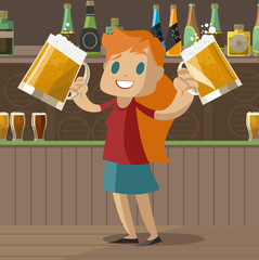 redhead girl with two beers