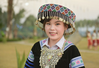 hmong hilltribe in beautiful costume dress