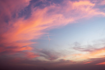 Dramatic color of Sky and twilight cloud background.