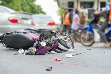 motorbike accident on the city street888