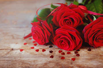 Valentine's Day present red roses bouquet