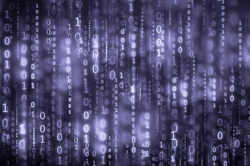 blue digital binary code matrix background