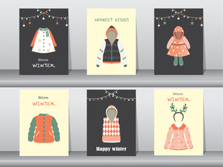 Set of Flat cute collection of winter clothes and accessories,poster,template,cards,winter clothes,Vector illustrations