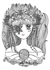 Zentangle doodle vector of beautiful young woman with flowers. black and white outline for coloring