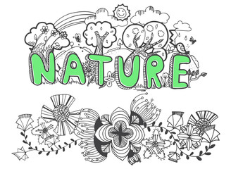 vector illustration of hand drawing nature with flower doodle in black line