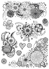 vector set of hand drawing doodle flower, Zentangle art designs