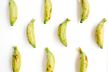 Arranged bananas pattern. Flat lay, top view. Creative food concept