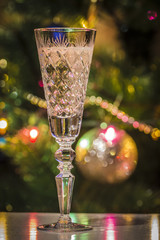 Glass of champagne close-up on the background of the Christmas tree.