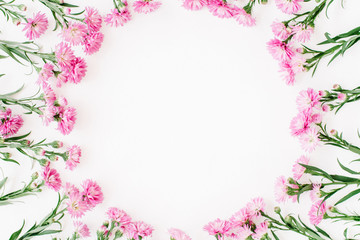 Wreath frame made of pink wildflowers, green leaves, branches on white background. Flat lay, top view. Valentine's background