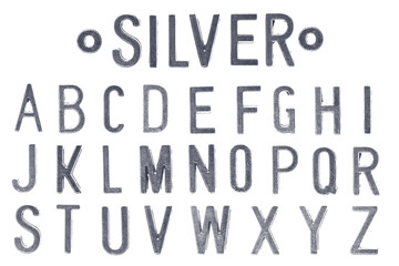 Gray Silver letter retro industry style font face or font type letter A to Z
