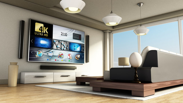 Modern 4K smart TV room with large windows and parquet floor. 3D illustration
