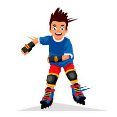 Little boy riding on roller skates