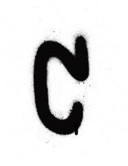 sprayed C font graffiti with leak in black over white