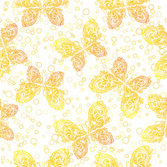 Seamless Background, Tile Patterns of Golden Symbolical Outline Butterflies and Rings. Vector