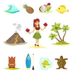 Hawaii icons and girl vector illustration.