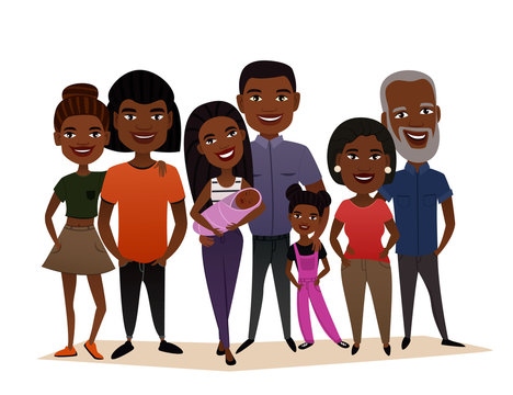Big happy black family isolated vector illustration. Mother, father, grandparents, children, parents, brother, sister, son, daughter cartoon characters. African family generations standing together