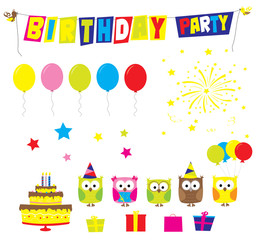 birthday party elements: birthday cake, cartoon owls, gifts, stars, balloons