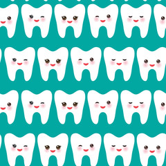seamless pattern with cartoon white teeth with funny faces, blue background. Vector