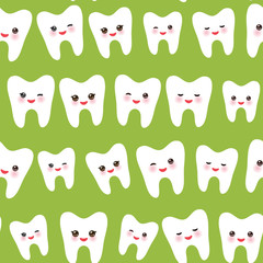 seamless pattern with cartoon white teeth with funny faces in green background. Vector