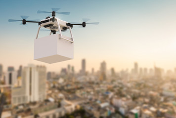 delivery drone flying in city Wall mural