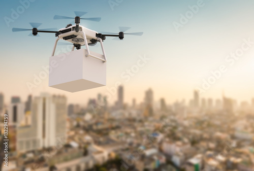 Wall mural delivery drone flying in city