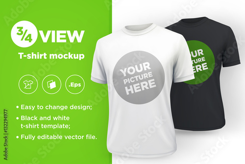 men s white and black t shirt with short sleeve mockup front view