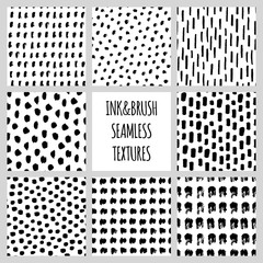 Set of eight seamless black and white vector free hand doodle textures, dry brush ink art.