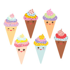 Ice cream waffle cone Kawaii funny muzzle with pink cheeks and winking eyes, pastel colors on white background. Vector