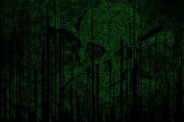 Computerbildschirm mit Virus Totenkopf Hackerangriff Passwort