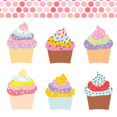 Cupcake set with cream and sprinkles, pastel colors on white background. Vector