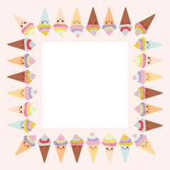 Card design for your text, banner template with square frame, Kawaii funny Ice cream waffle cone, muzzle with pink cheeks and winking eyes, pastel colors on white background. Vector