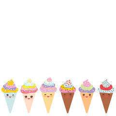 Card design for your text, banner template, Kawaii funny Ice cream waffle cone, muzzle with pink cheeks and winking eyes, pastel colors on white background. Vector