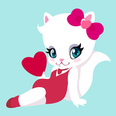 Cute white cat with a heart in the style of pin-up for Valentine's Day