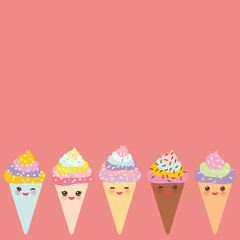 Card design for your text, banner template, Kawaii funny Ice cream waffle cone, muzzle with pink cheeks and winking eyes, pastel colors on pink background. Vector