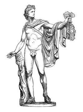 Ancient Roman marble sculpture Apollo of the Belvedere, now in Vatican Museum, vintage engraving