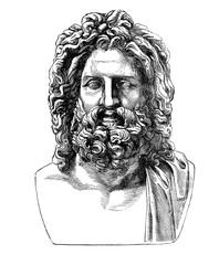 Ancient Roman bust of hellenic god Zeus, found in Umbrian city Otricoli in 1775, now in Vatican museum