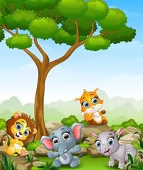 Spoed Foto op Canvas Zoo Wild animal cartoon in the jungle