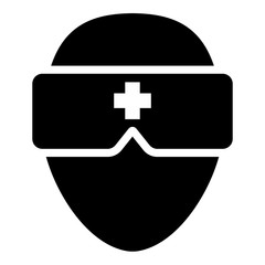 Virtual reality Virtual medicine illustration - glyph style icon - Filled black