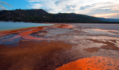 Organge microbial swirls in the Grand Prismatic Spring at sunset in the Midway Geyser Basin along the Firehole River in Yellowstone National Park in Wyoming USA